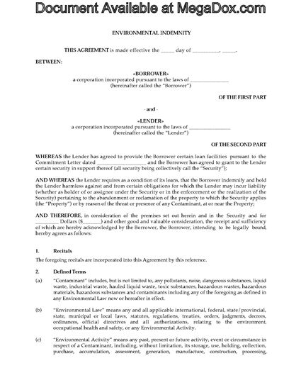 Picture of Environmental Indemnity | Canada