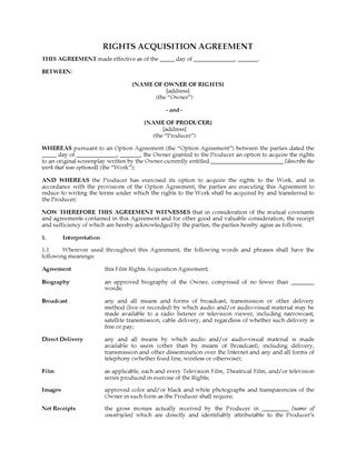 Picture of Film Rights Acquisition Agreement