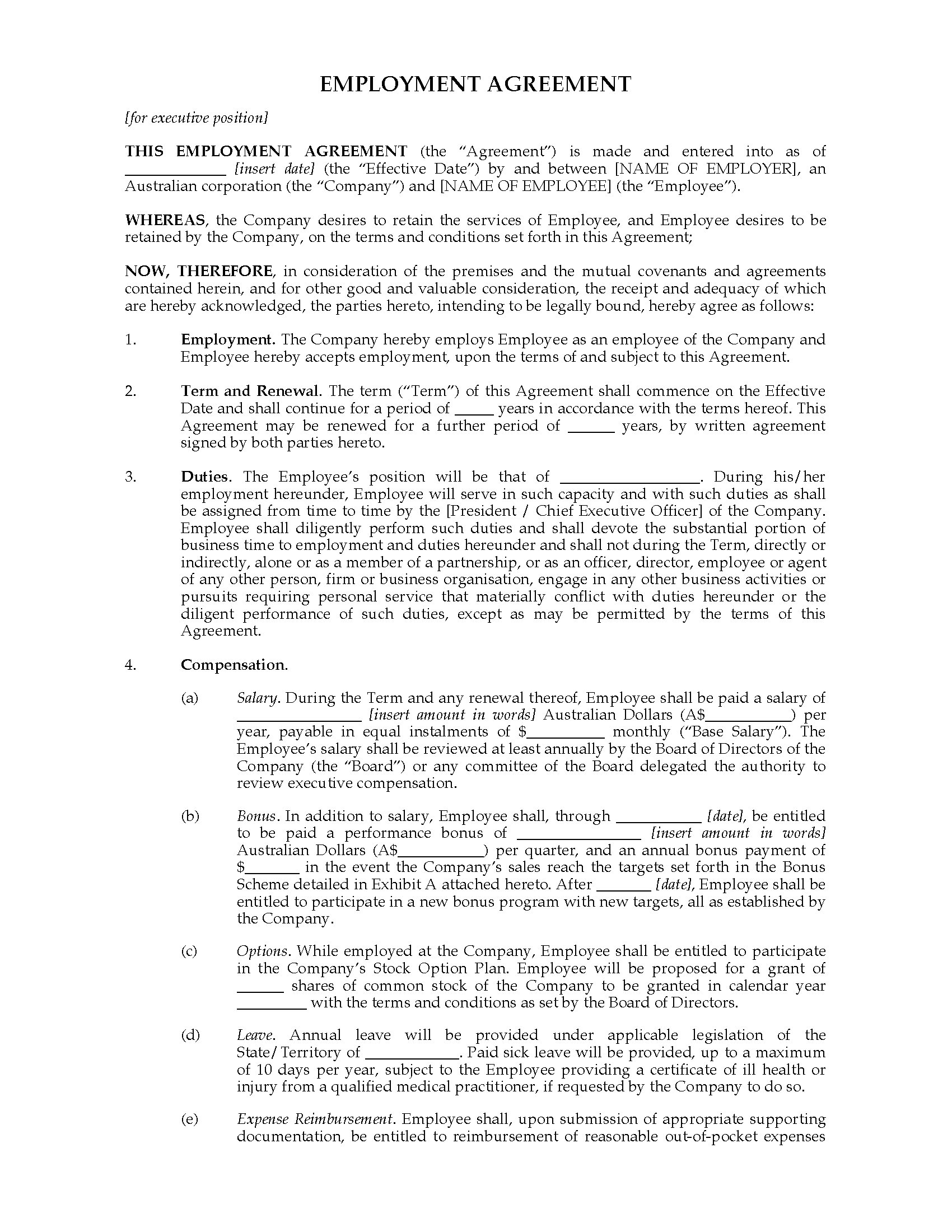 executive employment agreement Sample chief executive officer employment agreement (note: this sample contract was provided to ceo update by executive recruiter david martin, of sterling martin associates it is used as a starting point for negotiations—review by an experienced nonprofit attorney is recommended.