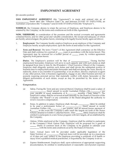 Picture of Employment Agreement for Executive Position (Australia)