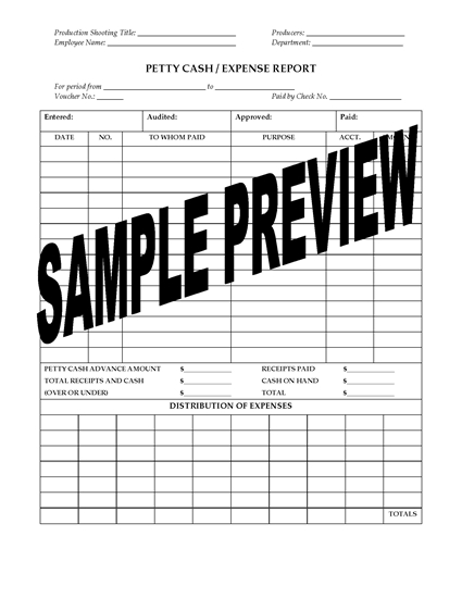 Picture of Petty Cash Expense Report for Film or TV Production