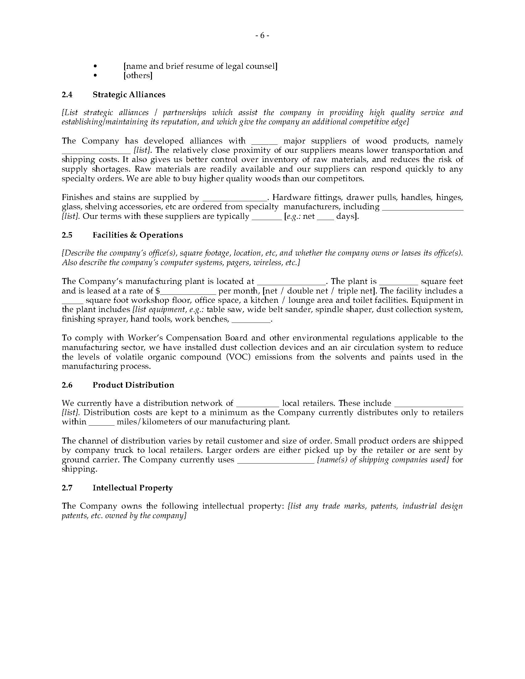 Furniture Manufacturer Business Plan