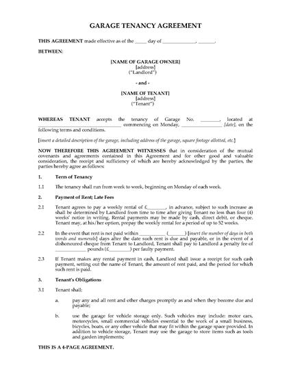 Picture of Garage Tenancy Agreement   UK