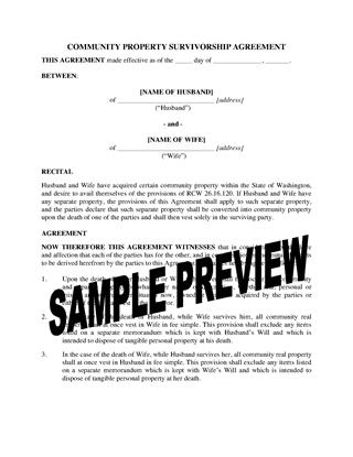 Picture of Washington Community Property Survivorship Agreement