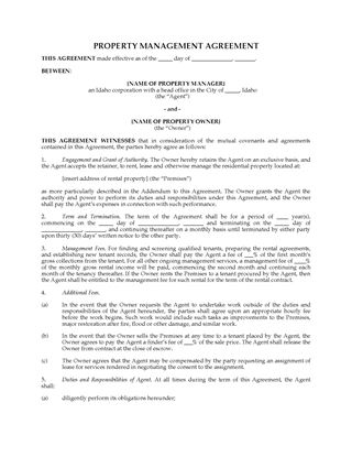 Picture of Idaho Rental Property Management Agreement