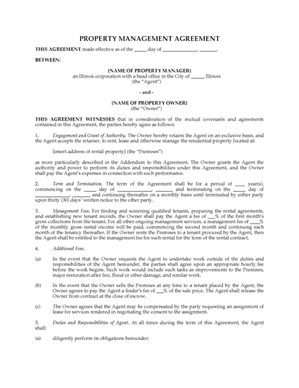 Picture of Illinois Rental Property Management Agreement