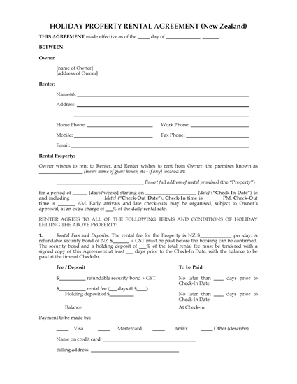Picture of Holiday Property Rental Agreement   New Zealand