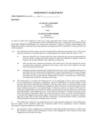 Picture of Commercial Lease Indemnity Agreement | Canada