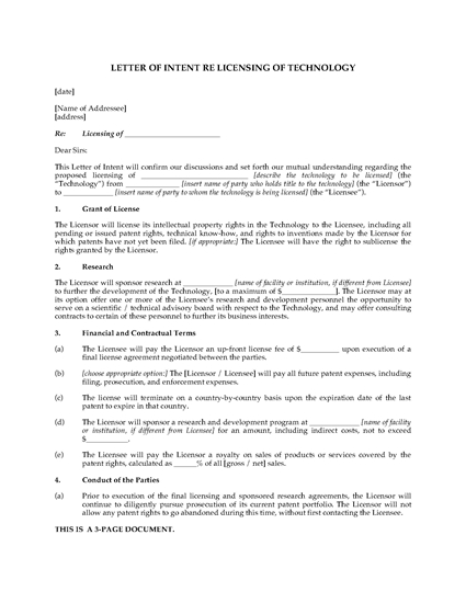 Picture of Letter of Intent to License Technology for Development