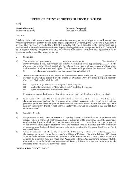 Picture of USA Letter of Intent to Purchase Preferred Stock