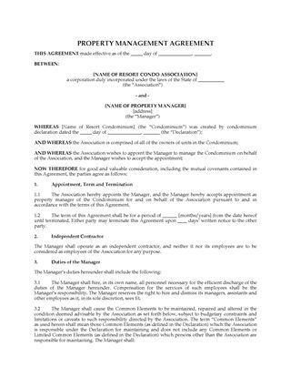 Picture of USA Resort Condominium Property Management Agreement
