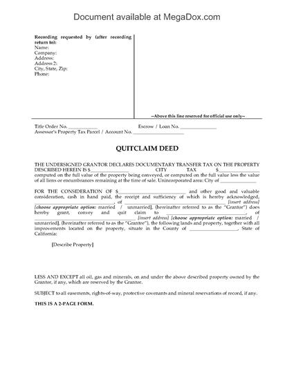 Picture of California Quitclaim Deed