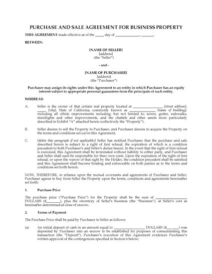 Picture of California Purchase and Sale Agreement for Business Property