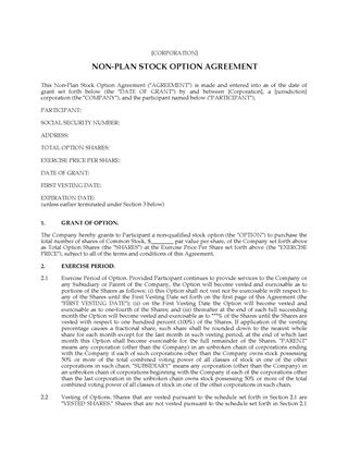 Picture of USA Non-Plan Stock Option Agreement