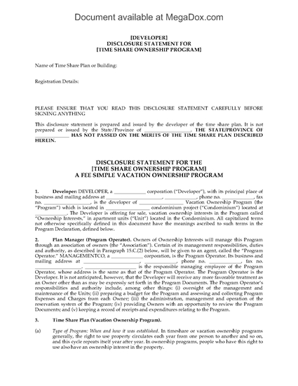 Picture of Hawaii Disclosure Statement for Resort Condominiums