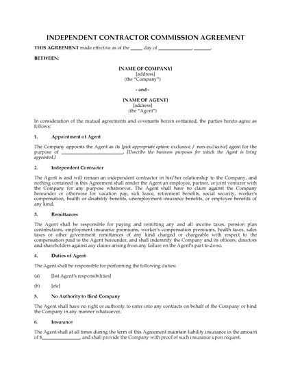 Picture of Commission Agreement for Independent Contractor