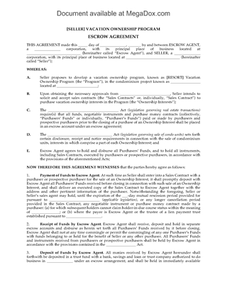 Picture of Hawaii Escrow Agreement for Time Share Purchase