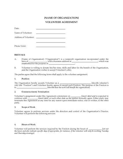 Picture of Volunteer Agreement