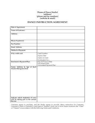 Picture of Dance Instruction Agreement