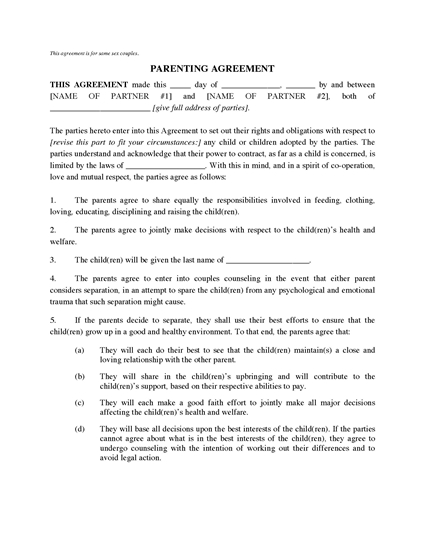 Picture of Parenting Agreement for Same Sex Couple