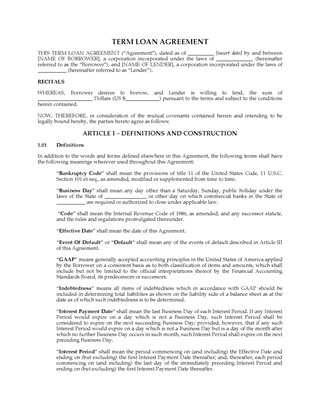 Picture of Term Loan Agreement | USA