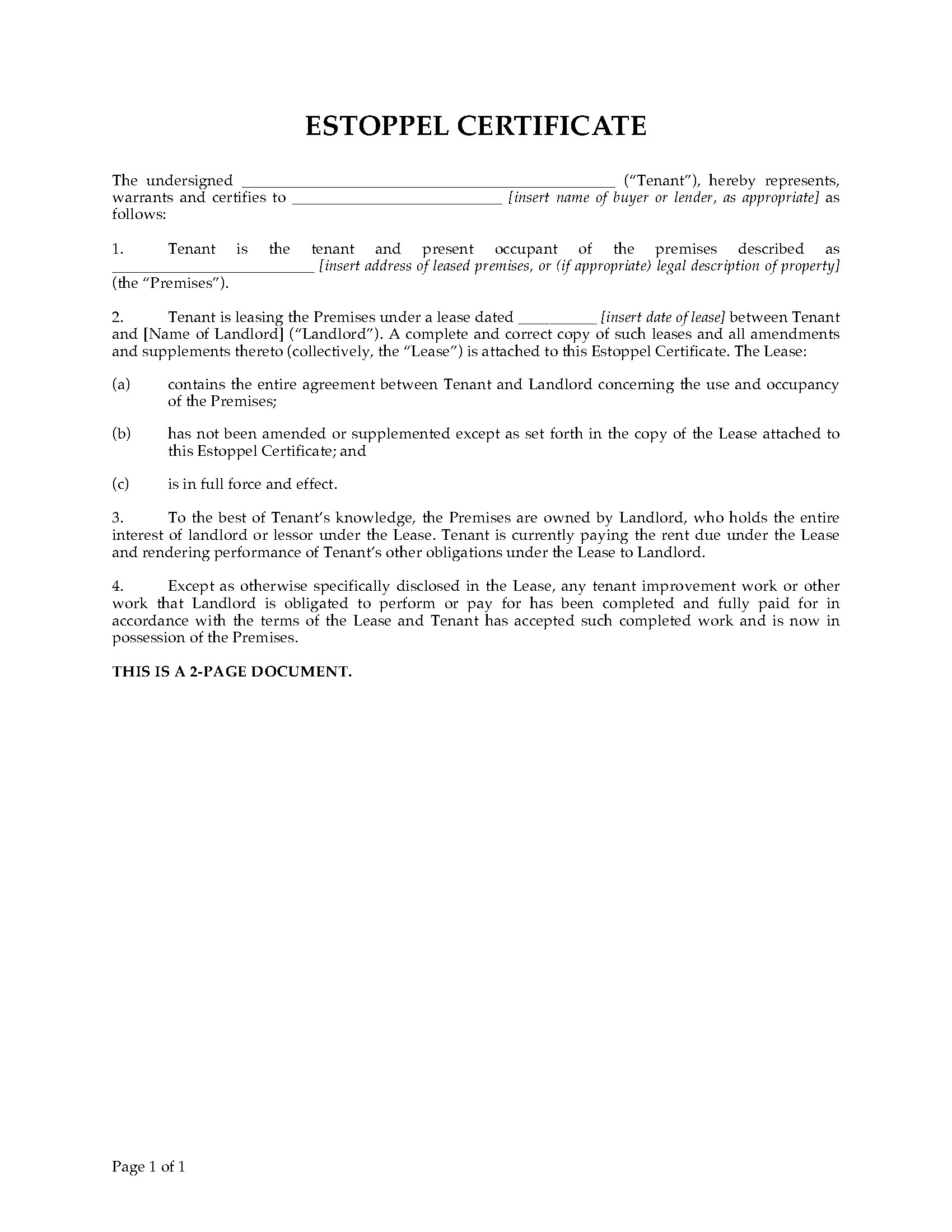 estoppel certificate template - usa commercial tenant estoppel certificate legal forms