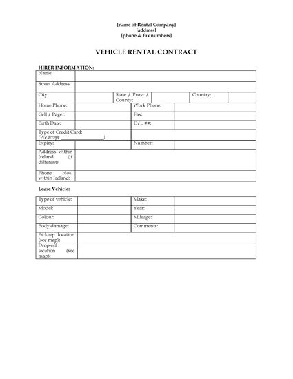 Picture of Ireland Vehicle Hire Contract