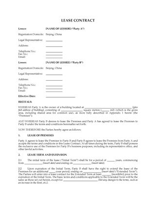 Picture of China Commercial Lease Contract in Favor of Tenant
