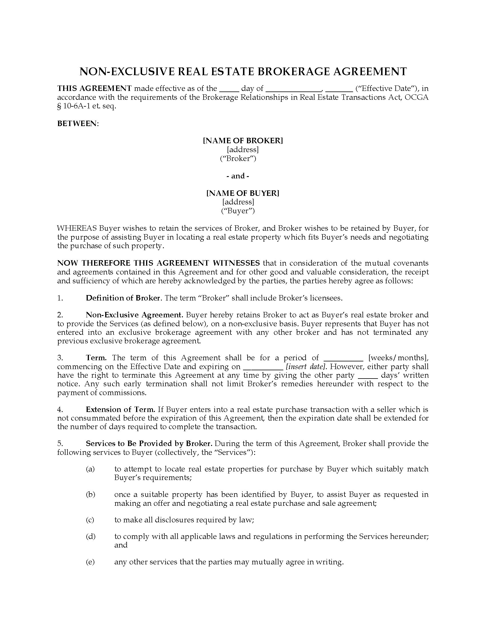 Georgia Non Exclusive Broker Agreement For Real Estate Purchase