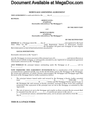 Picture of Mortgage Amending or Renewal Agreement | Canada