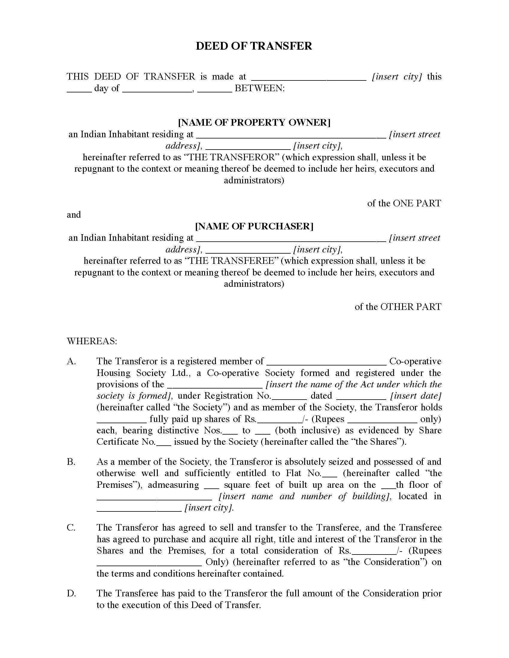 India deed of transfer for flat legal forms and business for Deed of gift template australia