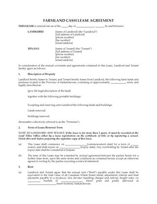Picture of Saskatchewan Farm Land Cash Lease Agreement