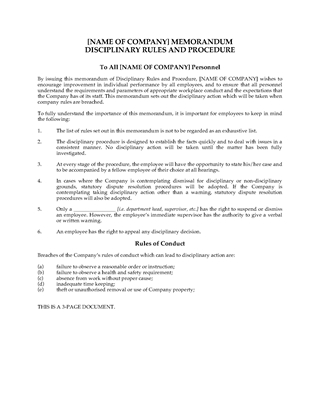 Picture of Employee Disciplinary Rules and Procedure Memorandum