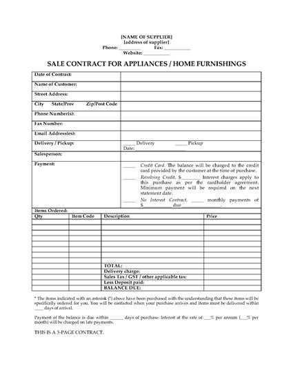 Picture of Sale Contract for Appliances or Home Furnishings