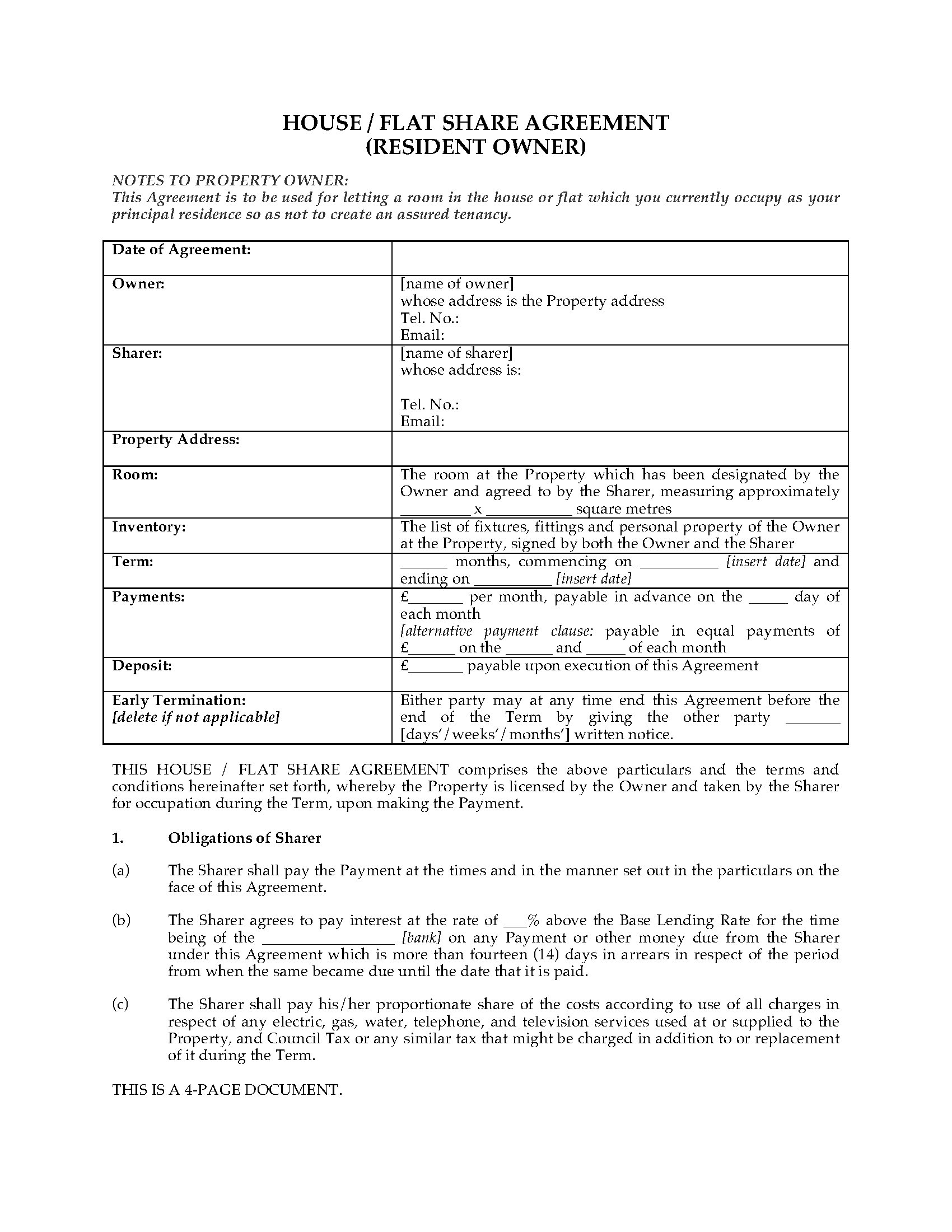 Uk house flat share agreement with resident owner for House sharing agreement template
