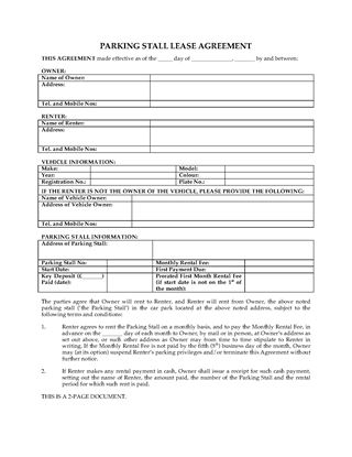 Parking Lease Template Parking Space Rental Agreement Form Sample