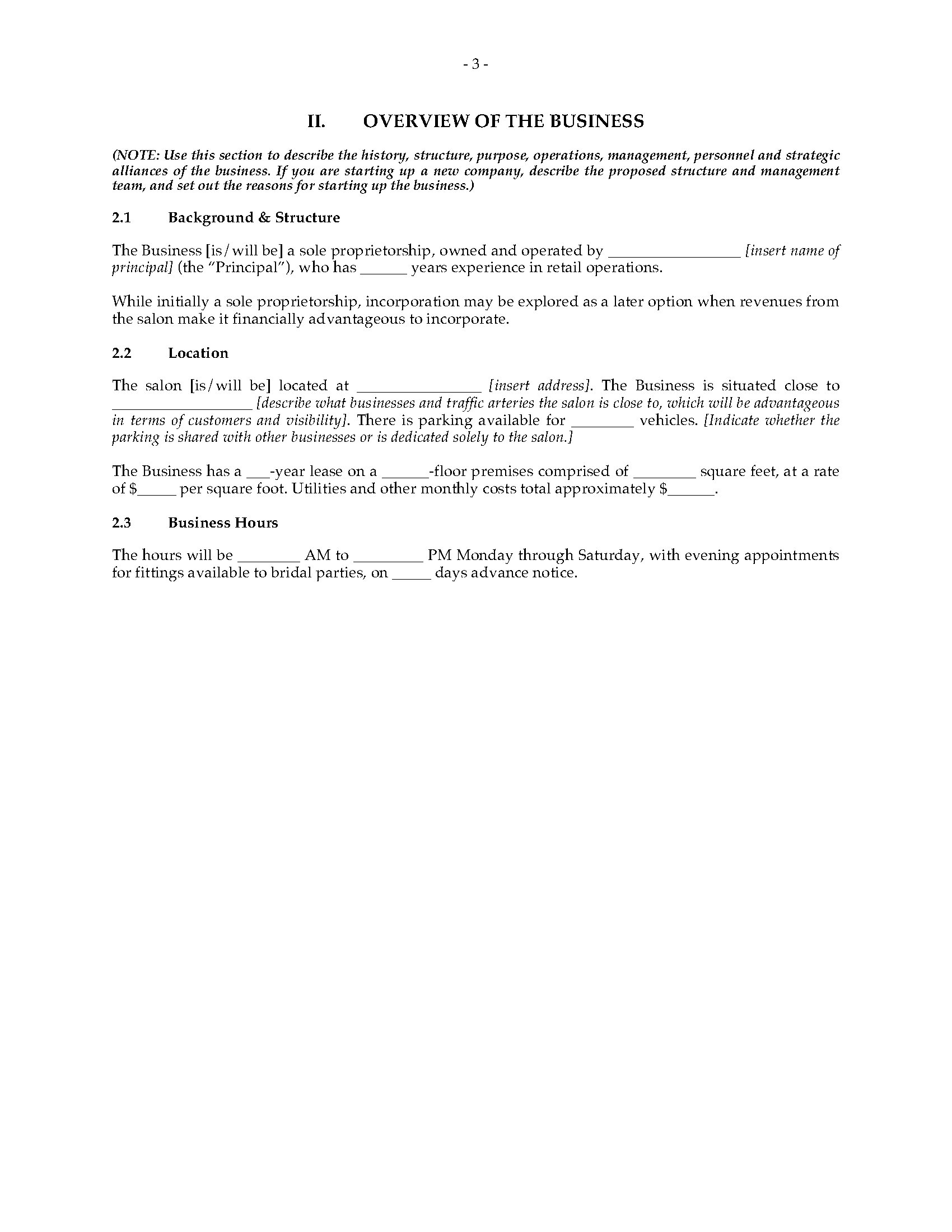 Bridal salon business plan legal forms and business for A salon business plan