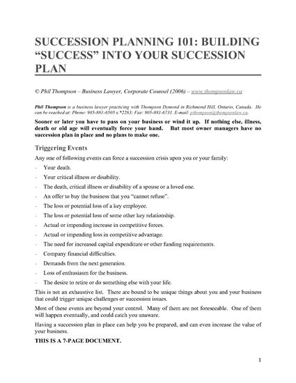 Picture of Succession Planning 101 - Building Success Into Your Succession Plan