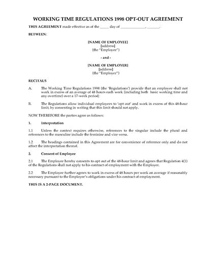 Picture of Working Time Regulations Opt-Out Agreement | UK