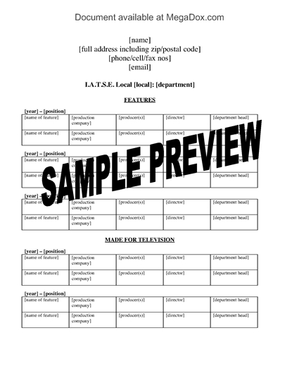Picture of IATSE Resume Template for Movie and TV Industry Employee
