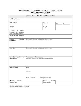 Picture of USA Authorization for Medical Treatment of Minor Child