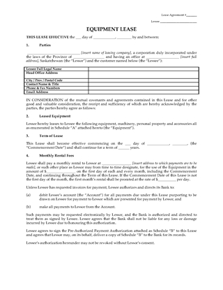Picture of Saskatchewan Equipment Lease with Purchase Option