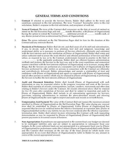 Picture of General Terms Governing Bid Solicitations