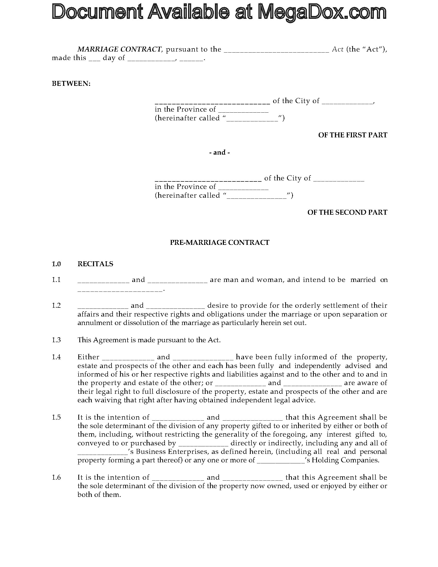 Alberta Prenuptial Agreement Form