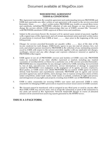 Picture of Web Hosting Terms and Conditions