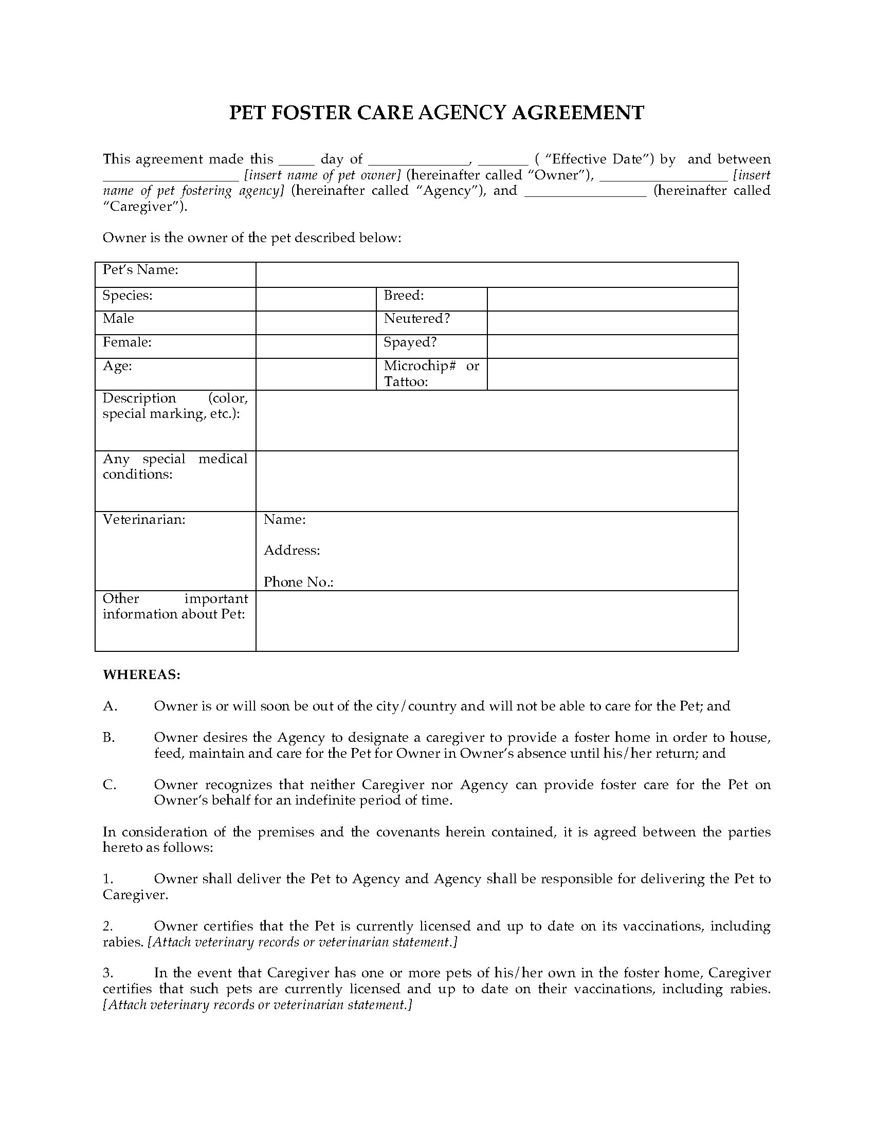 Pet Foster Care Agreement Legal Forms And Business Templates