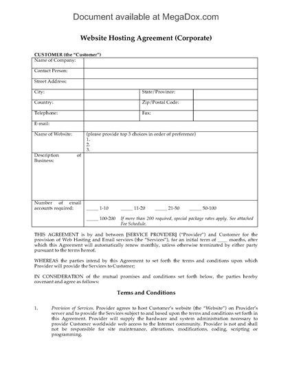 Picture of Web Hosting Agreement for Corporate Customers