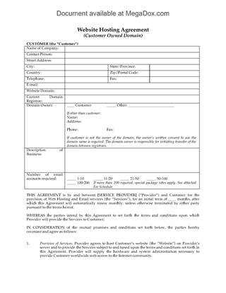 Picture of Web Hosting Agreement for Domain Owned by Customer