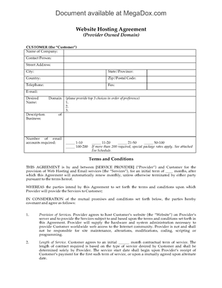 Picture of Web Hosting Agreement for Provider-Owned Domain