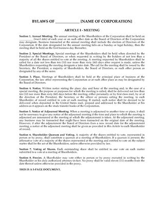Picture of Florida Bylaws of Profit Corporation